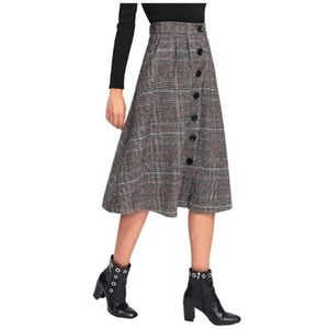 Vintage A-Line Button High Waist Plaid Midi Skirt